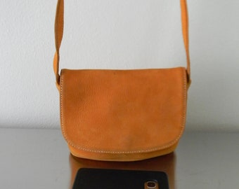 Vintage Pumpkin Small Flap Bag Nubuc, Refurbished Small Orange Flap Front Soft Nubuc Crossbody Bag, Limited Edition Coach Sonoma Bag