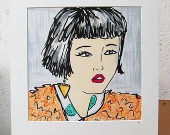 80s Girl With Bob Hair, Earring & Pink Lips Original Art Print Sketchy Pop Art Portrait Illustration Black and Orange