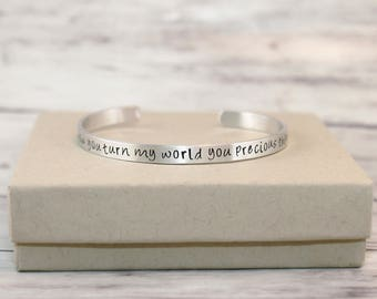 Labyrinth  Quote,  How You Turn My World You Precious Thing, Hand Stamped Bracelet, Silver Bangle,