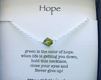 Hope necklace. strength jewelry. inspirational jewelry gift. Survivor gift. Thank you gift. Best friend gift. Delicate jewelry.