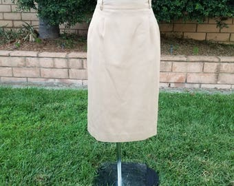 Vintage Tan Skirt, Girl Scout Skirt, Troop Skirt, Pencil Skirt, Midi, Beige, Costume, Office Wear, Size 16 Plus Size