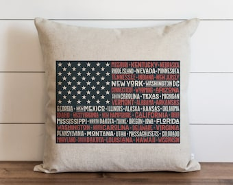 USA Flag_States 20 x 20 Pillow Cover // Summer // Everyday // 4th of July // Independence Day // Patriotic // Gift // Accent Pillow