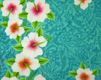"TROPICAL MUSLIN Print, Hibiscus Flowers, 34"" Wide Pacific Islands Fabric, White Orange Pink on Aqua, Lightweight Cotton Polyester, B27"