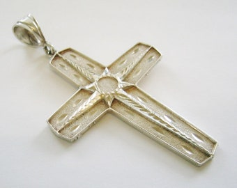 Estate... Jumbo Sterling Silver Cross Pendent. 4+ Inches Long....