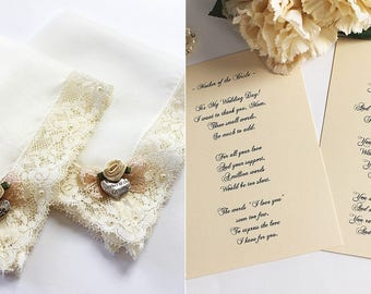 Mother of the Bride and Groom, Handkerchief set, Gift from Bride, Mother of the Bride Hankie, Wedding handkerchief, lace handkerchief, Card