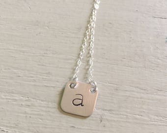 Sterling silver square initial necklace-personalized necklace-initial pendant-square necklace