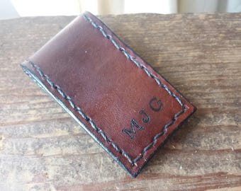 Leather Money Clip - Personalized Money Clip - Hand Branded Hand Stitched - Magnetic Money Clip - Chocolate Brown