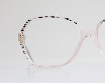 Vintage 80's Chevron Zebra Eyeglasses Frames