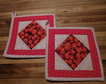 Handmade Pot Holders/ Hot Pad/Cherry Tomatoes/ Patchwork/ Red and White/ Quilted/ Detailed