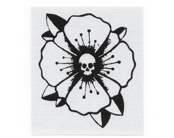 Poppy Skull // Screen Printed Patch