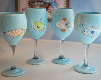 Hand Painted Whimsical Fish Wine Glass Set(4)