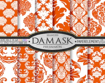 Persimmon Orange Damask Digital Paper Pack - Printable Scrapbook Paper Patterns - Instant Download