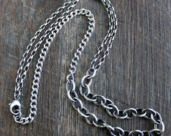Men's Rustic Mixed Chain Necklace, Oxidized Sterling Silver Necklace
