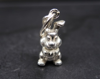 Funny sterling silver pendant rabbit - Small Charm Bunny Rabbit 3d