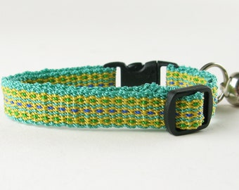 Kitty Cat Collar Hand Woven Breakaway Kitten Collar Teal and Yellow Flowers
