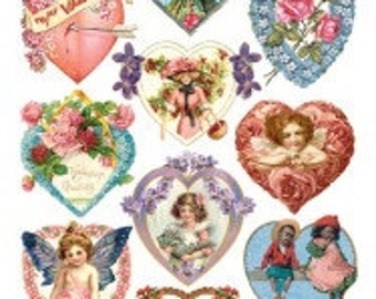 Victorian Valentines Sticker Package - 2 sheets - from Violette Stickers