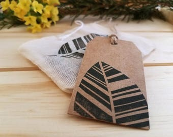 Leaf Gift Tags   set of 10, Kraft gift tag, gift wrapping, packaging