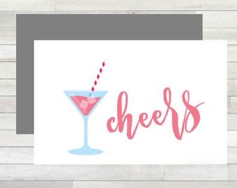 Greeting Card Cheers Printable Instant Download Last Minute DIY