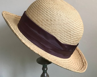 Vintage Straw Bermona Trend Hat with Brown Ribbon