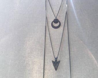 Arrowhead Necklace - silver-tone arrowhead pendant charm necklace