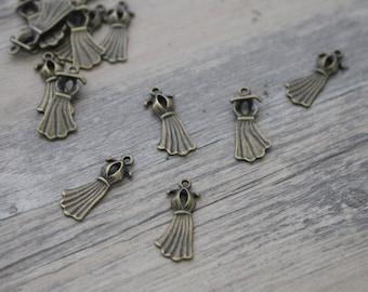 1 charm pin dress ' up bronze brass 2 2x1cm