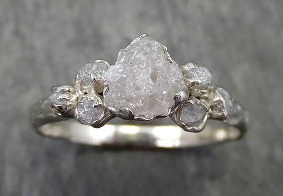 Rough Grey Diamond Engagement Ring Raw 18k White Gold Wedding