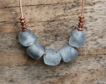 Gray mist recycled African glass bead necklace with 3 mm copper beads