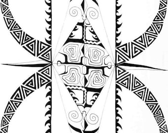 """Ex-Large Tribal Or Tattoo Full Length Fringeless White Color Sarong, Pareu, Pareo..Measures- Approximately 66"""" x 44"""" Inches"""