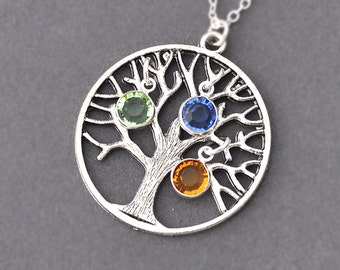 mothers day gift, Family tree Necklace, Personalized birth stone necklace, mother necklace, swarovski, tree pendant, family, round crystal