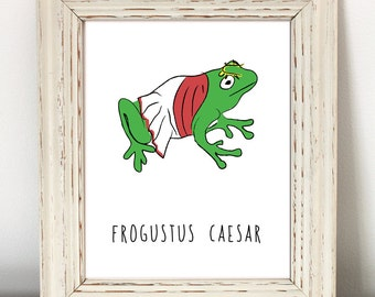 Frog, Funny Animal Print, Instant Download, nerdy animal print, nerd art, nerdy, Roman Empire, Rome, Caesar, teacher gift