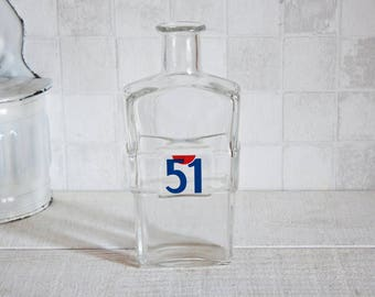 "Vintage French famous ""Pastis 51"" glass bottle - Antique french water pitcher for aperitif"