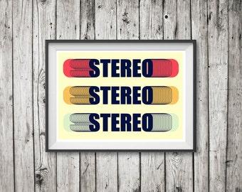 RETRO STEREO Poster Art Print 'Unframed'  - Mid Century style retro typographic stereophonic illustration - P&P WORLDWIDE