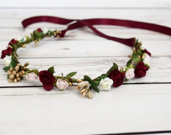 Handcrafted Burgundy Wine Pink Ivory Gold Flower Crown - Adult Flower Crown - Bridesmaid Flower Halo - Renaissance Flower Crown - Wedding