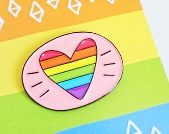 Rainbow Heart Enamel Pin Gay Pride Enamel Pin Badge Pride Rainbow Pin Gift