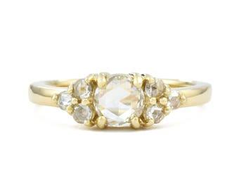 Rose Cut Diamond Cluster Engagement Ring, 14K Gold Diamond Engagement Ring, Diamond Cluster Ring