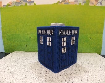 Dr Who Boutique Style Plastic Canvas Tissue Topper aka the Police Box