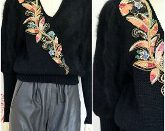 Vintage Angora Sweater | Black Wool Sweater | Sequin Sweater | Beaded Sweater | Angora Jumper | V Neck Sweater | Sequin Top | Pouf Sleeves