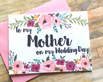 Mom Thank You Mother Wedding Card, Mom Thank You Card, Thank You Mom, Mother Card, Wedding Day Mom Thank You Card, I Love You Mom - MULBERRY