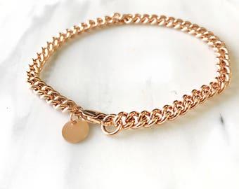 Gold Curb chain bracelet / rose gold chain bracelet / sterling silver chain bracelet