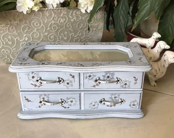Upcycled Vintage Jewelry Box / Shabby Chic Jewelry Chest / OOAK Painted Wooden Jewelry Box / Jewelry Storage / Womens Gifts