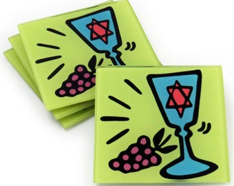 Kiddush Cup - Judaica Tempered Glass Coasters