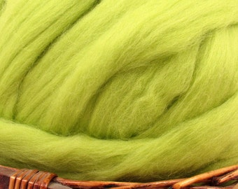 Dyed Corriedale Natural Spinning Fiber Wool Top Roving / 1oz - Citrus