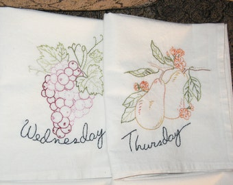 Handmade Embroidered Tea Towels Muslin Set of 8 Fruity Days!