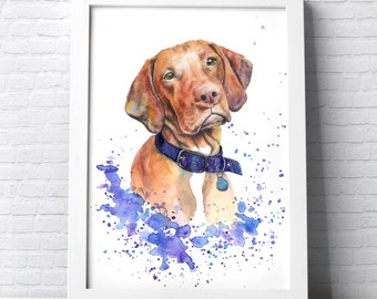 Custom Pet Portrait Dog portrait colourful made with watercolours and pastels personalised painting