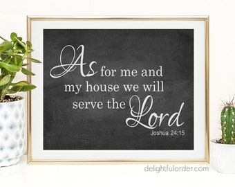 """16x20 - """"As for me and my house..."""" Chalk Look Wall Art - (JPEG Digital File) Instant Download - You Print- You Frame"""