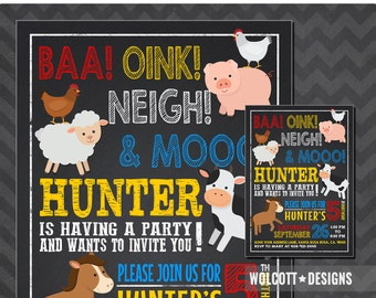 Barnyard birthday invitation, Farm birthday invitation, Farm animal birthday invite, Barnyard party invitation, chalkboard
