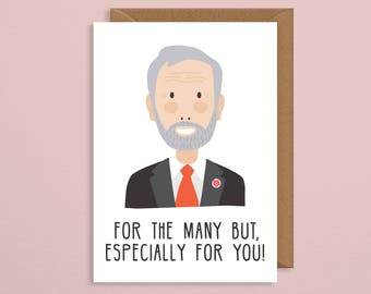 Jeremy corbyn valentines card.valentines card.for the many but especially for you.joke valentines card.politics.boyfriend.girlfriend.funny