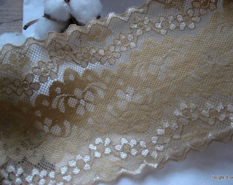 wide lace nude elastic 10cms, floral