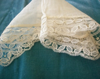 Antique Lace hand done wedding hanky/doily 1800s perfect
