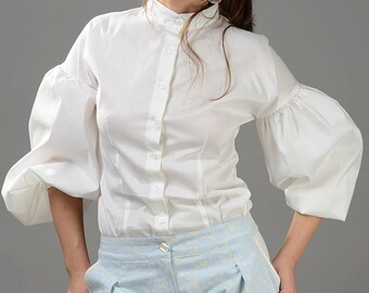 White Shirt, Puff Sleeve Top, Edwardian Clothing, Women Blouse, Plus Size Blouse, Collar Shirt, Romantic Top, Sexy White Top, Minimalist Top